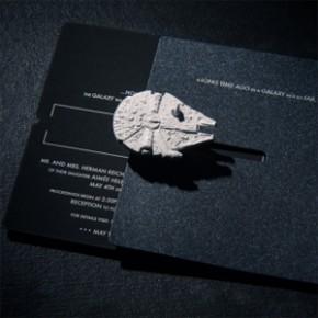 Convite de Casamento com Miniaturas de Naves de Star Wars!