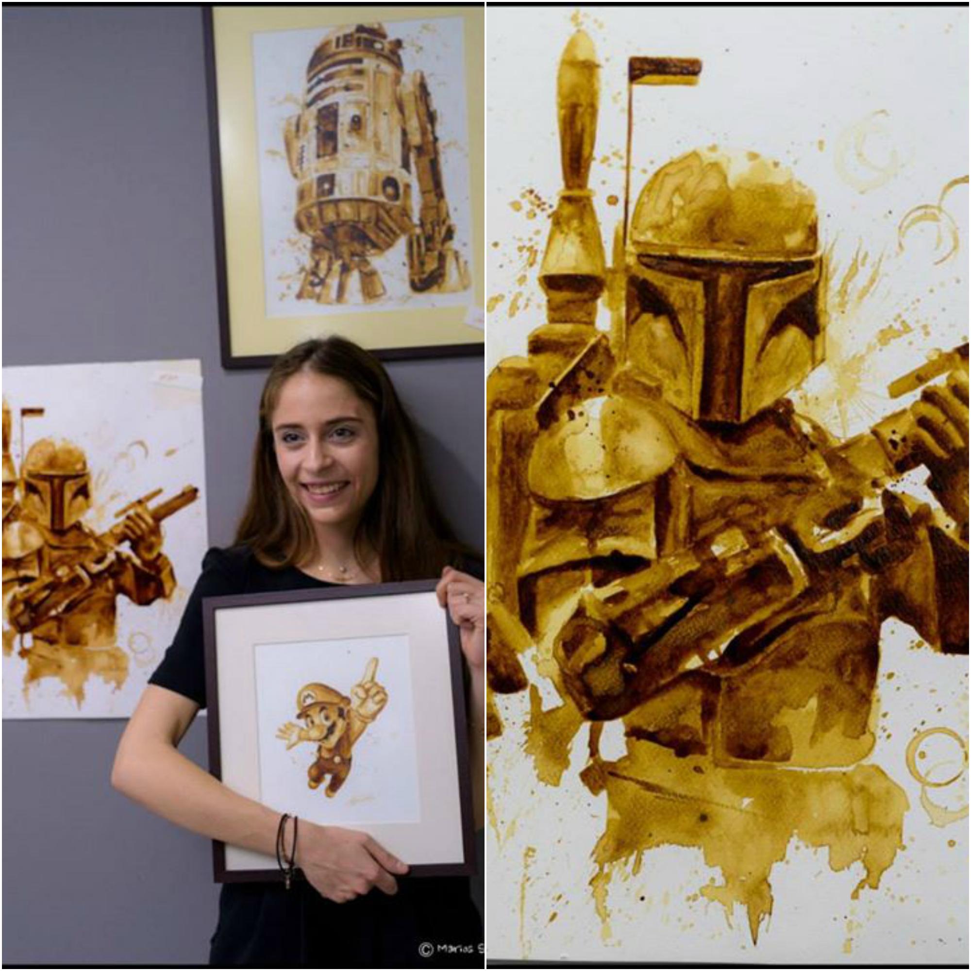 Artista plástica cria desenhos de Star Wars apenas com café