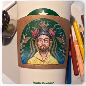 Copos do Starbucks viram arte com ilustrações