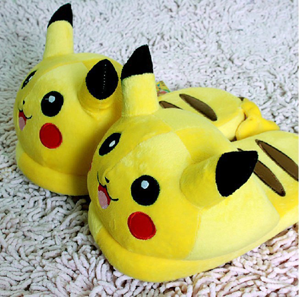 New-2014-font-b-Nintendo-b-font-Pokemon-Pikachu-11-Adult-Plush-Slipper-1-Pair-Anime