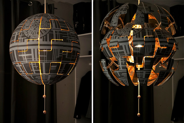 Casal fã de Star Wars transforma simples luminária em Estrela da Morte