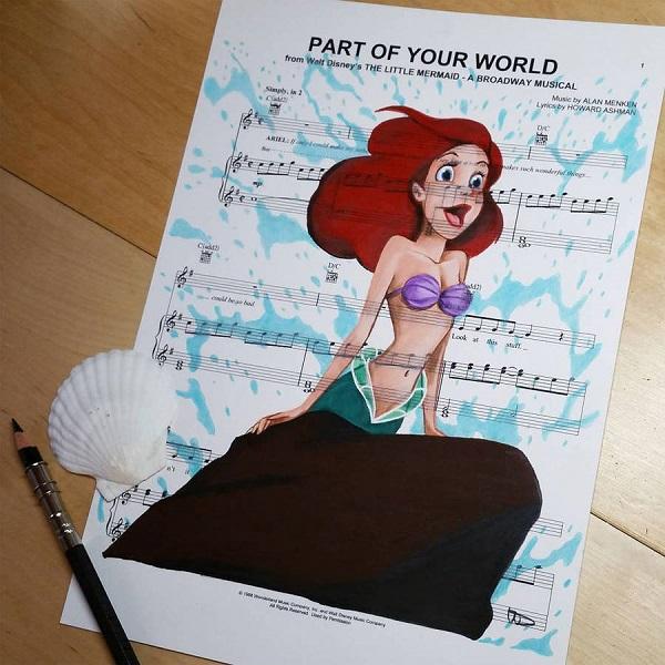 Artista cria ilustrações de personagens em folhas de partituras com temas musicais