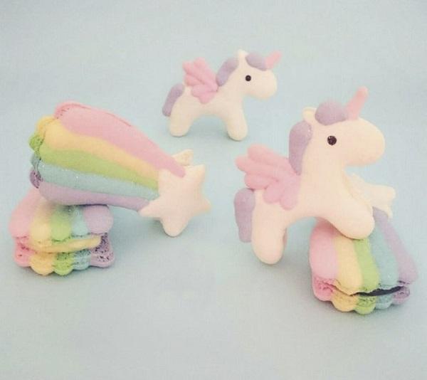 Macarons lindos para os fãs de unicórnios e arco-íris