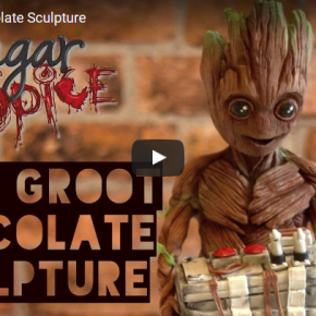Escultura Baby Groot de chocolate!