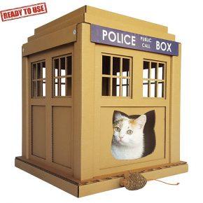Casinhas de papelão para gatos inspiradas em Doctor Who, Star Wars e Pikachu