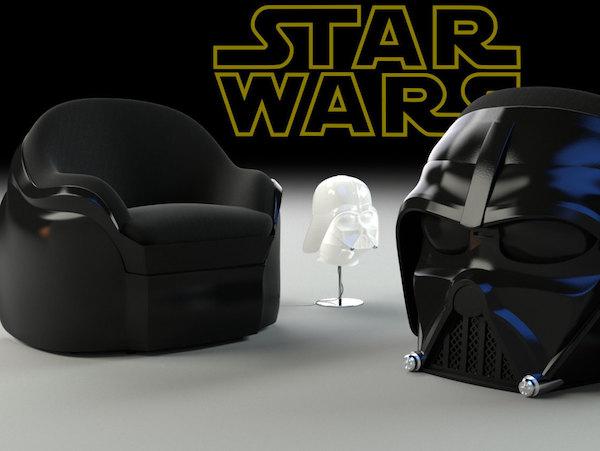 Poltronas em formato de capacete Darth Vader
