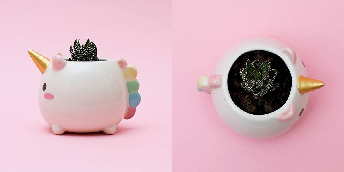 Vasinho de unicórnio para deixar suas plantas cheias de magia!