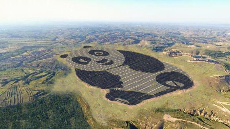 China constrói usina solar em formato de panda