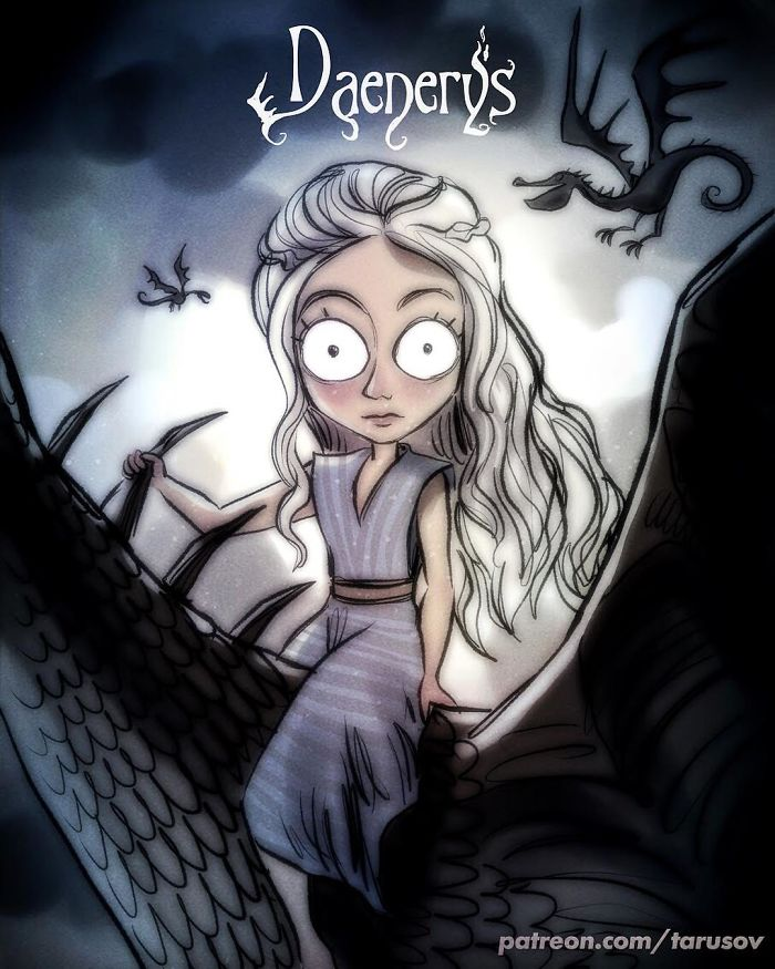 Artista recria personagens de Game Of Thrones no estilo de Tim Burton
