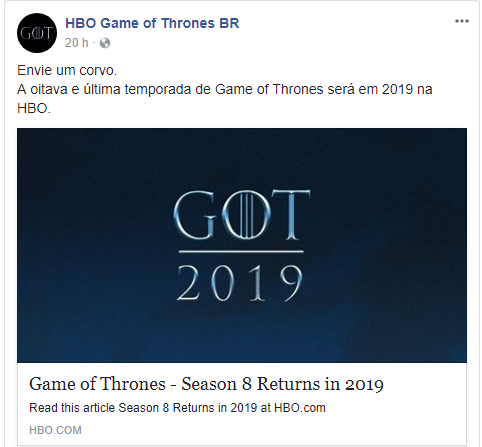 HBO confirma que Game of Thrones retorna em 2019