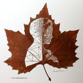 Artista transforma folhas de árvore em obras de arte