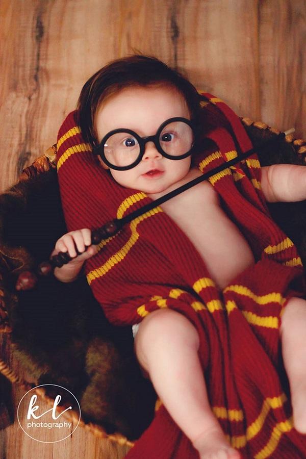 Fã de Harry Potter faz ensaio fotográfico da filha de 3 meses