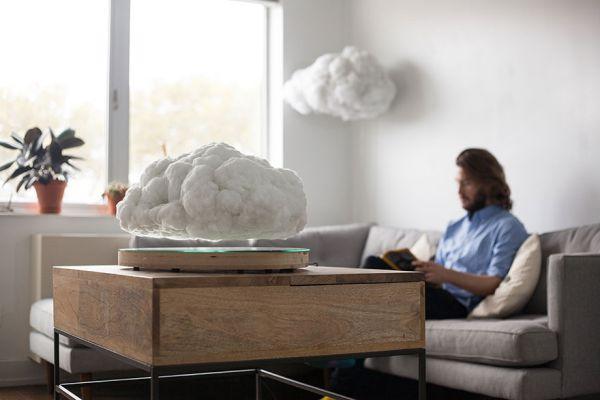 Aparelho de som Bluetooth em formato de nuvem flutuante