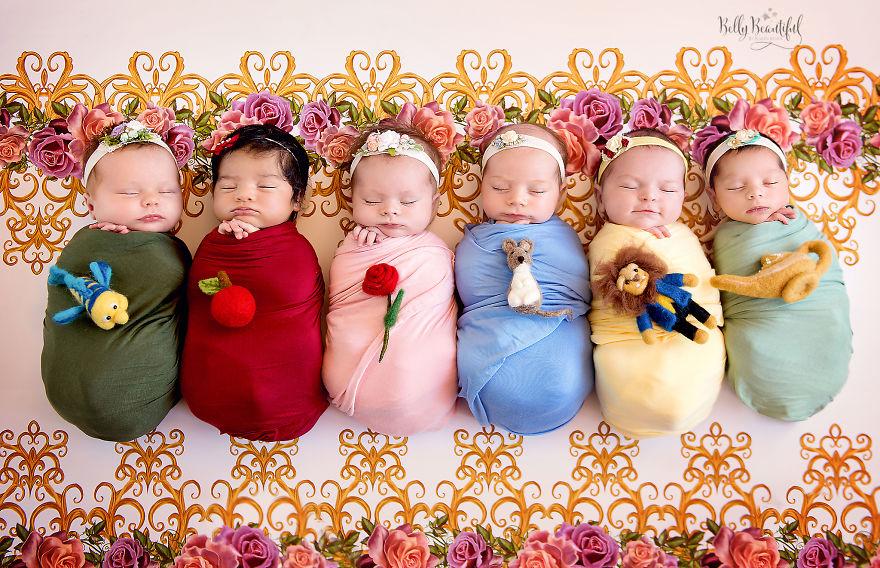 Ensaio de bebês inspirado nas Princesas da Disney