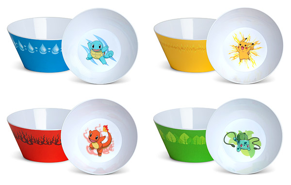 Tigelas de cereais Pokemon: Squirtle, Charmander, Bulbasaur e Pikachu