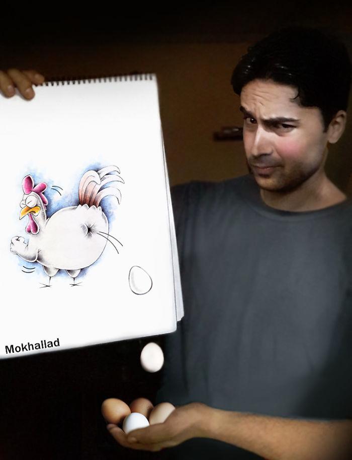 Farmacêutico combina desenhos com vida real para fazer as pessoas sorrirem